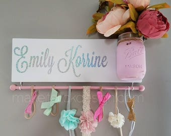 Headband Bow Holder, Custom Name Board, Baby Girl Nursery Decor, Baby Shower Gift, Bow Organizer, Headband Organizer, Rainbow Baby Decor