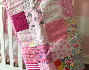 Baby Quilt, Baby Girl Quilt, Pink Baby Quilt, Tummy Time Quilt, Pink Nursery Blanket, Pink Crib Bedding