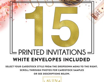 Set of 15 printed invitations / cards