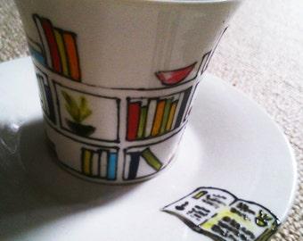 Painted mug with plate