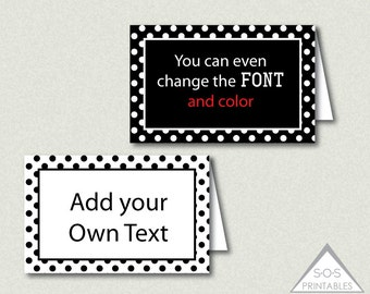 Black and White Polkadot Tent Labels, Buffet Labels, Name Cards, Editable labels, printable, EDITABLE PDF, You add text, Add your own text,