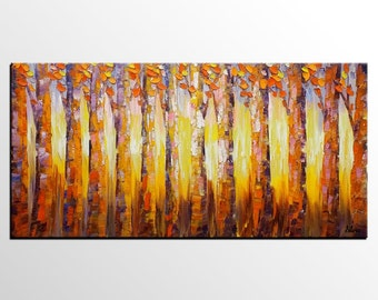 Original Painting, Oil Painting, Canvas Painting, Abstract Art, Canvas Wall Art, Birch Tree Painting, Landscape Painting, Canvas Art