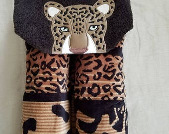 Adult Leopard Hooded Beach Towel,Embroidered Beach Towel, Embroidered Towel,Leopard Beach Towel,Embroidered Beach Towel,Ready To Ship