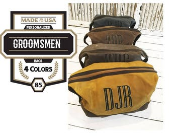 Mens Waxed Canvas Dopp Monogrammed Solid Yellow Olive Khaki Slate Shaving Kit Toiletry Travel Cosmetic Tote Canvas Father Groom Groomsmen
