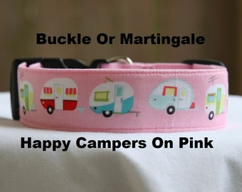 Happy Camper-Adjustable Buckle-Martingale Dog Collar-Small-Large Breed Dog-1 inch 1.5 -2 inch width-Traffic-Dog Leash