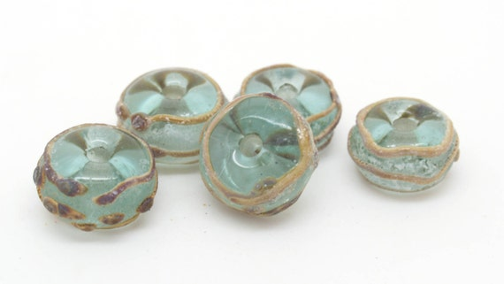 Aged green and raku glass beads. Made to order.