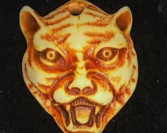 Visage of Feline // Hand Carved Cat Pendant // Lioness, Tiger // Therianthrope Amulet