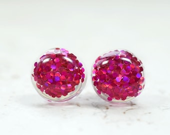Hot Pink Glitter Earrings, Magenta Sparkly Pink Party Jewelry, New Years Eve Parties, Holiday Gift Ideas