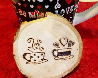 Rustic Wood Burned Romantic or Coffee Love Magnet - Coffee Mugs with Hearts Design