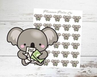 Koala Planner Stickers // Bills // Bill Due // 007