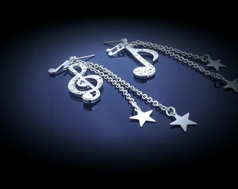 Note and Clef with stars dangle earrings