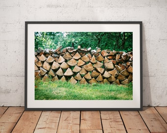 Wood, Firewood, Wall Art, Nature Landscape Photography, Art Prints, Wall Decor