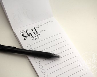 Get Shit Done Notepad - to do list - to do list notepad - funny notepad - office organization - office accessories - funny to do list