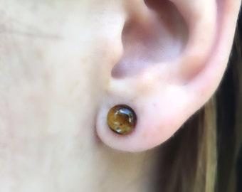 Tiger Eye Stud Earrings, Sterling Silver Earrings, Brown Studs, Tiger Eye Jewelry, Bohemian Jewelry, Gift Idea