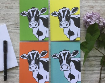 Set of 4 Cards | Cow Design | Notelets | Blank | A6 | Thank You Cards | Greetings | Notecards | Original Design