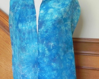 Oblong Silk Scarf Hand Dyed Shades of Peacock Blue and Turquoise, silk scarf #435 Ready to Ship