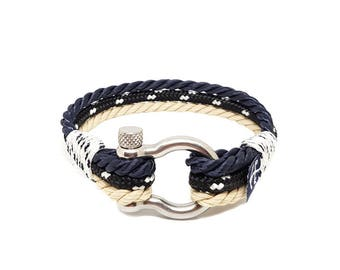 Atlantic Breeze Nautical Rope Bracelet , Unisex Bracelet ,Sailor Bracelet ,Shackle Bracelet , Surfer Bracelet