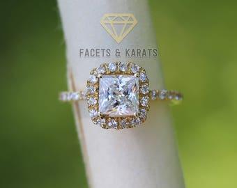 14k Yellow Gold Princess Cut Halo Engagement Ring 2 Carat Square Cut Wedding Bridal Ring, Simulated Diamonds Single Shank Pave Cushion Halo