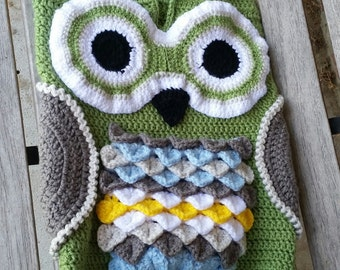 Owl Cocoon, Baby Set, Blanket and Hat, Baby Sack, Photo Prop, Sleep Sack, Baby shower Gift,