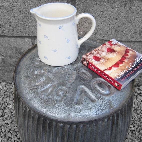 Metal Dolly Tub Table Industrial Coffee SideTable Steampunk