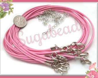 10 Pink Necklace Cords  - Finished Necklace Cords 19 inches