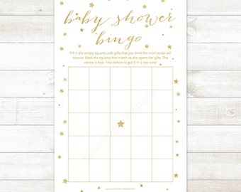 gold twinkle star baby shower bingo game card, printable DIY gold glitter bingo baby shower games - INSTANT DOWNLOAD