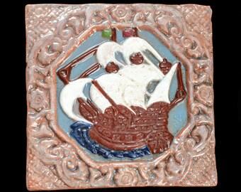 herman backlund tile works Aves sailing ship tile F7