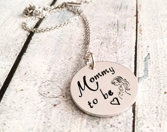 Mommy to be - Mommy necklace - Pregnant mother - Hand stamped necklace - Hand stamped jewelry - Gift for expectant mother - Pregnancy gift