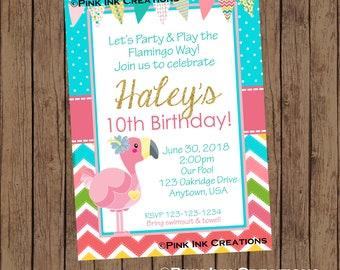 Flamingo Birthday Invitation / Flamingo Invitation / Flamingle Invitation / Flamingo Birthday Party Invitation / Flamingo Birthday Party