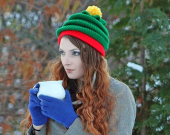 Fun Christmas Tree Hat Red and Green with Yellow Pom Pom  Beanie Hat  Knit Handmade  Christmas Gift for him or her or Kids