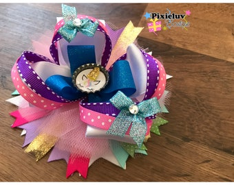 """Rainbow Unicorn Pink, Gold, Green and Purple 6"""" Stacked Boutique Hair Bow"""