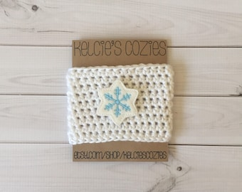 Snowflake coffee cozy, crochet coffee cozy, coffee cozy