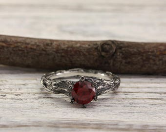 Garnet unique branch engagement ring, Twig engagement ring, Garnet tree bark engagement ring, Women's branch ring, Garnet engagement ring