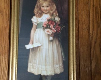 Victorian Girl  with Roses Print FREE US SHIP