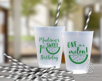 Watermelon Party | Customizable Frosted Cups | Birthdays, Bachelorette, Engagement Bridal Parties or Baby Showers | social graces and Co