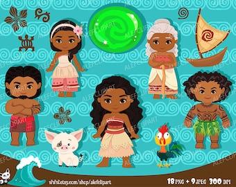 Moana Clipart, Disney Moana, Princess Moana Clipart, Instant Download, Moana Costume, Polynesian
