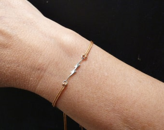 Lightning bolt bracelet, friend gift with message card, sterling silver