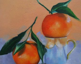 Original small oil painting of mandarin oranges,small fruit painting