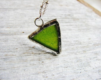 Green Stained Glass Necklace, Glass Pendant Necklace, Minimalist Jewelry, Glass Necklace, Geometric Necklace