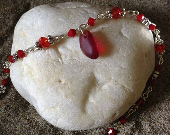 red sea glass anklet