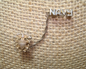 Vintage Sterling United States NAVY Two Part Pin.