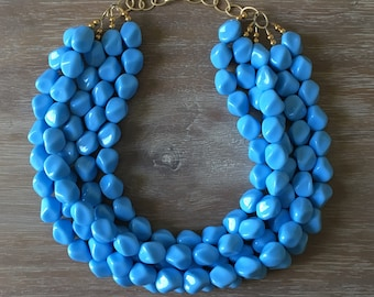 Blue Bead Necklace - Chunky Beaded Statement Necklace MultiStrand in Bright Blue