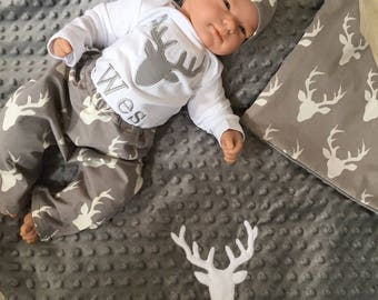 Deer baby clothes etsy personalized baby boy coming home outfit deer baby boy clothes minky baby gifts negle Image collections