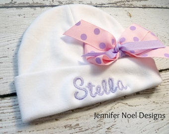Personalized Infant Hat with name and bow, personalized baby hat, personalized newborn hat, monogrammed baby hat, girls personalized hat bow