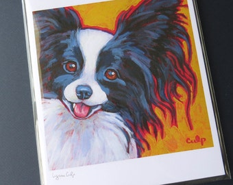 PAPILLON 8x10 Signed Dog Art Print from Painting by Lynn Culp