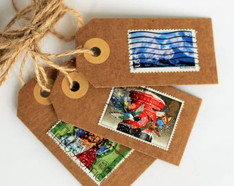 Cadeaulabels | Labels of cardboard with stamps from different countries