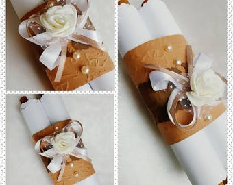 Cinnamon and Pearl - White Rose Wedding Invitation