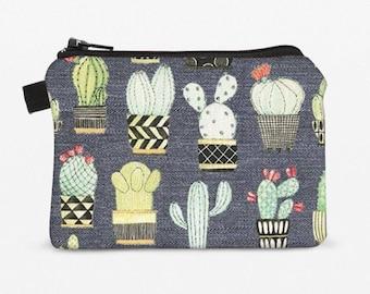 Cactus Coin Bag, Women's Small Makeup Pouch, Zipper Coin Purse, Cacti Card Wallet, Padded Gray Coin Purse - gray cactus