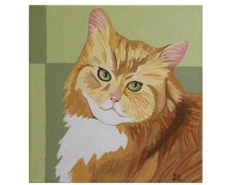 Orange Long Haired Cat Print