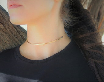 Gold Choker, Choker, Minimal necklace, Gold Necklace, Long Bar Choker Necklace, Gold Choker Necklace, Gift For Her, The Silver Wren